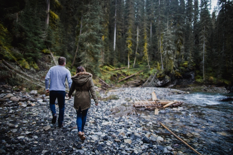 Johnston Canyon engagement session in Banff National Park