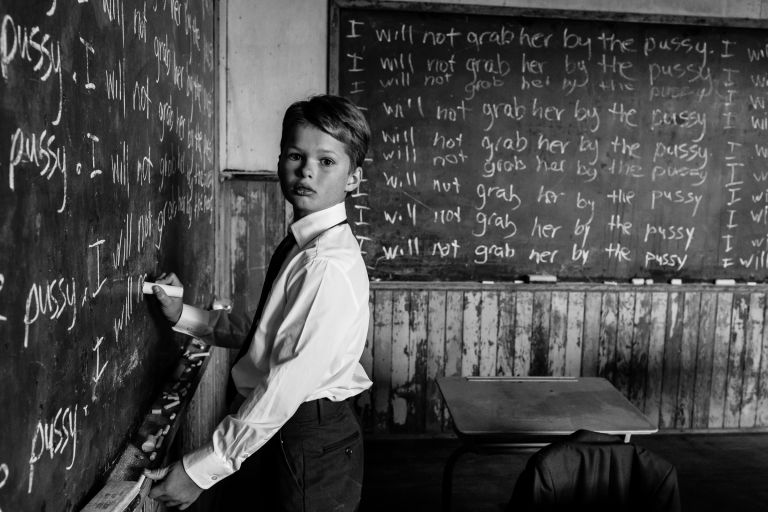 Edmonton child poses in an old schoolhouse for a provocative conceptual portrait by Aimee Hobbs