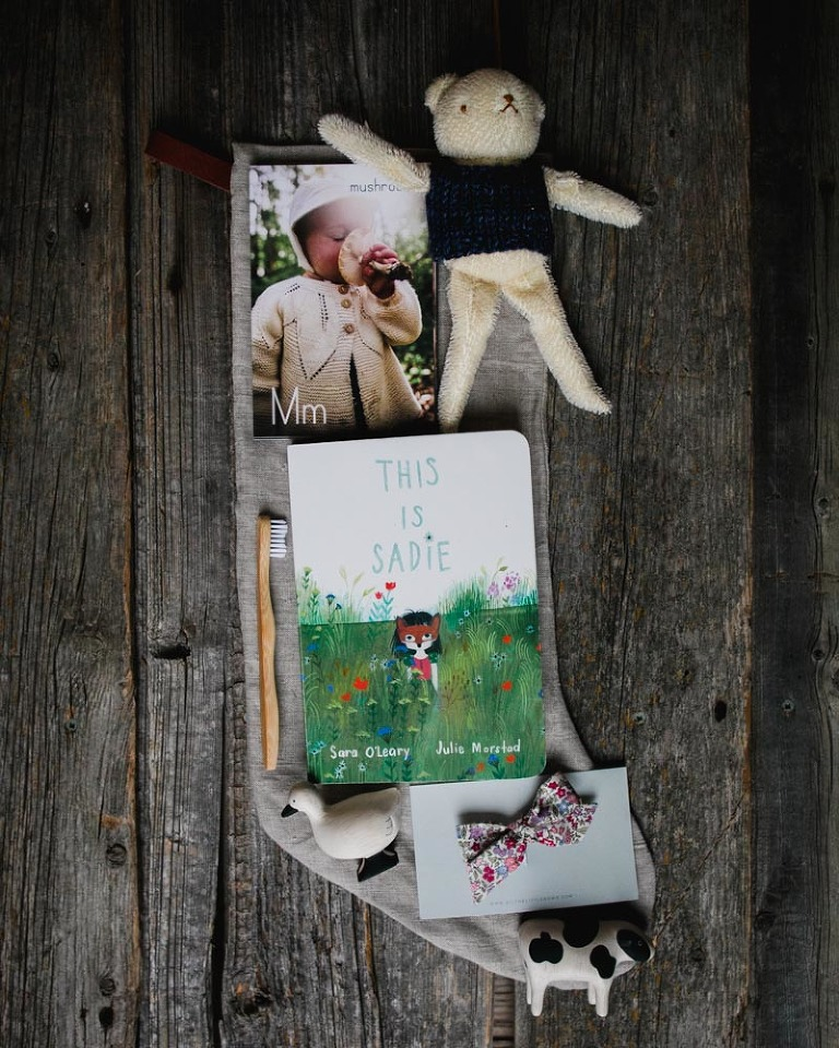 Edmonton family photographer shows The Hobbs Farm alphabet cards, book, and other items in her kids' stockings