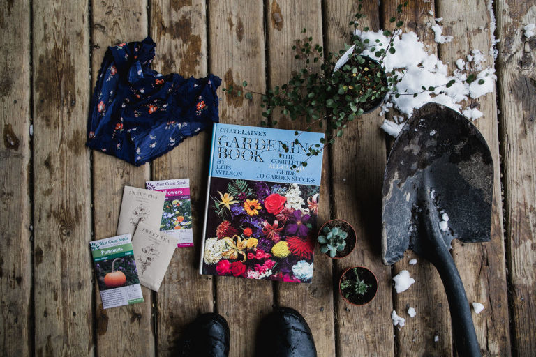 flat lay photograph of seeds, a book, underwear, and shovel for world naked gardening day