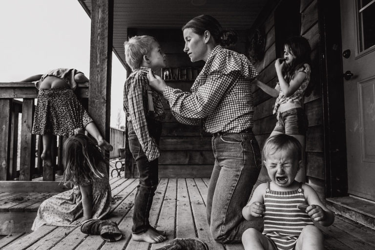 edmonton documentary photographer takes self portrait of kids and mother