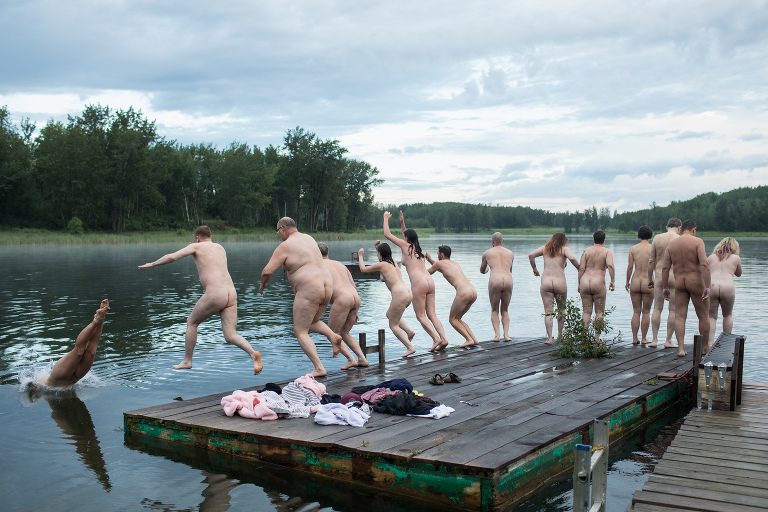 Edmonton photographers celebrate international skinny dip day with early morning swim