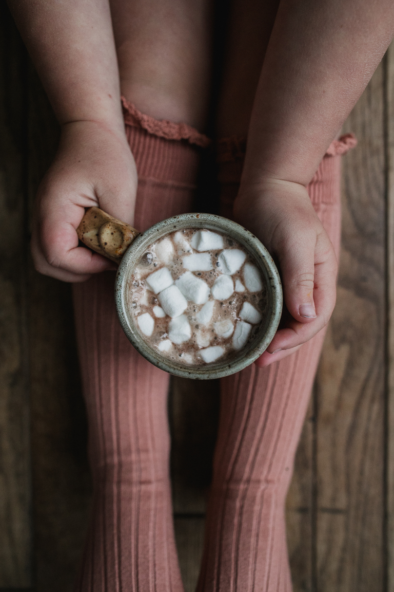 cute pink socks and hot chocolate with marshmellows