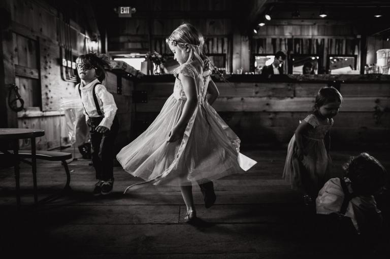 the kids dance in this rustic Edmonton wedding venue